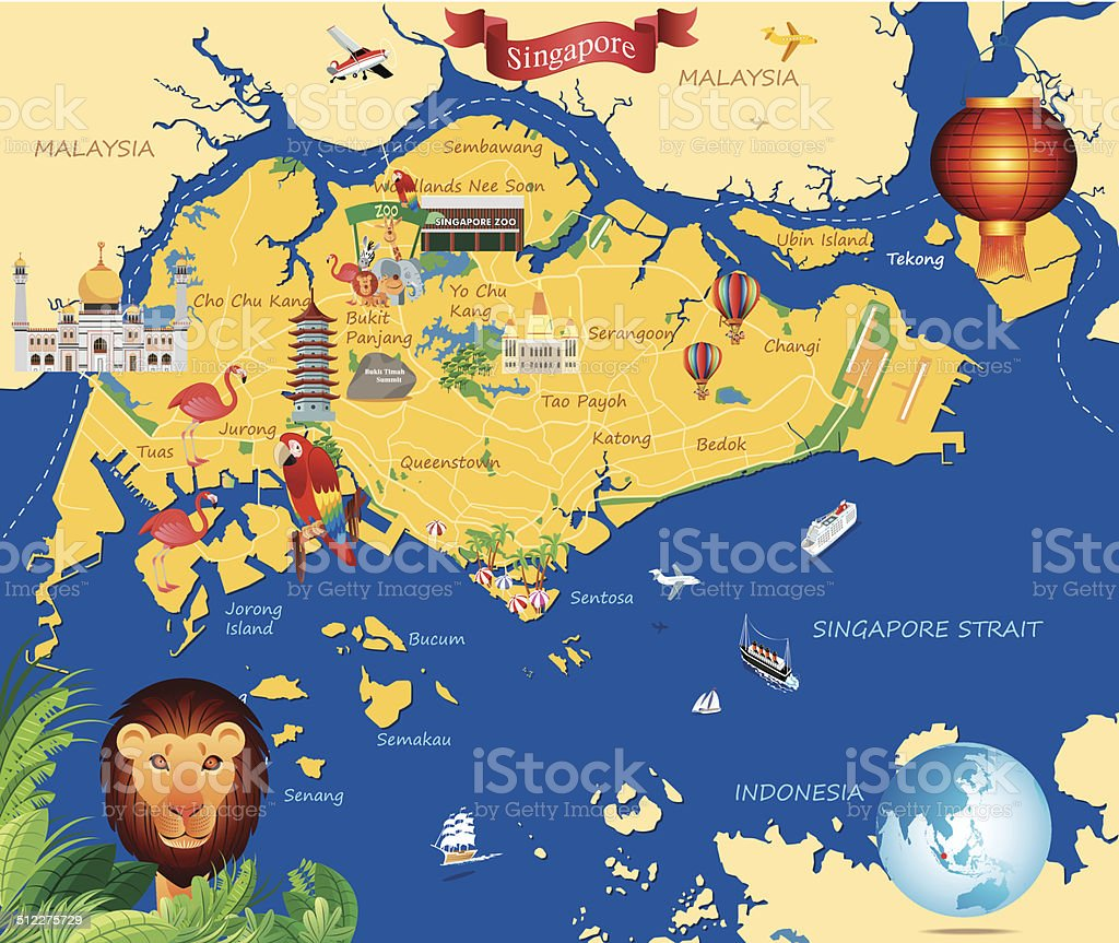 Cartoon map of  Singapure vector art illustration