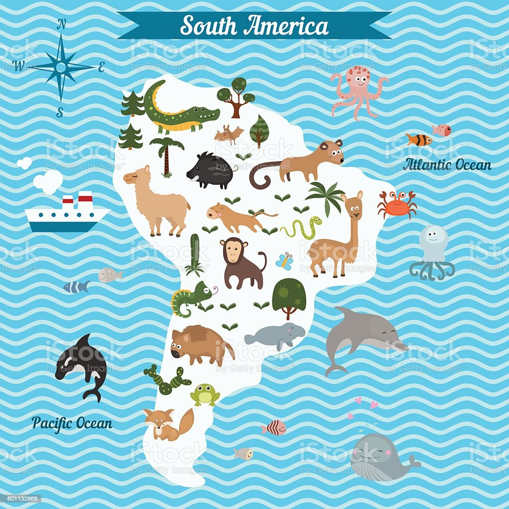Cartoon map of South America continent with different animals. vector art illustration