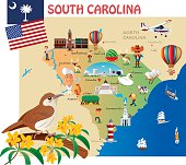 Cartoon map of South Carolina