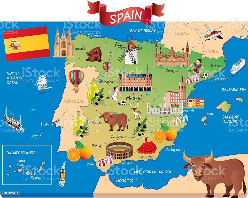 Cartoon map of SPAIN vector art illustration