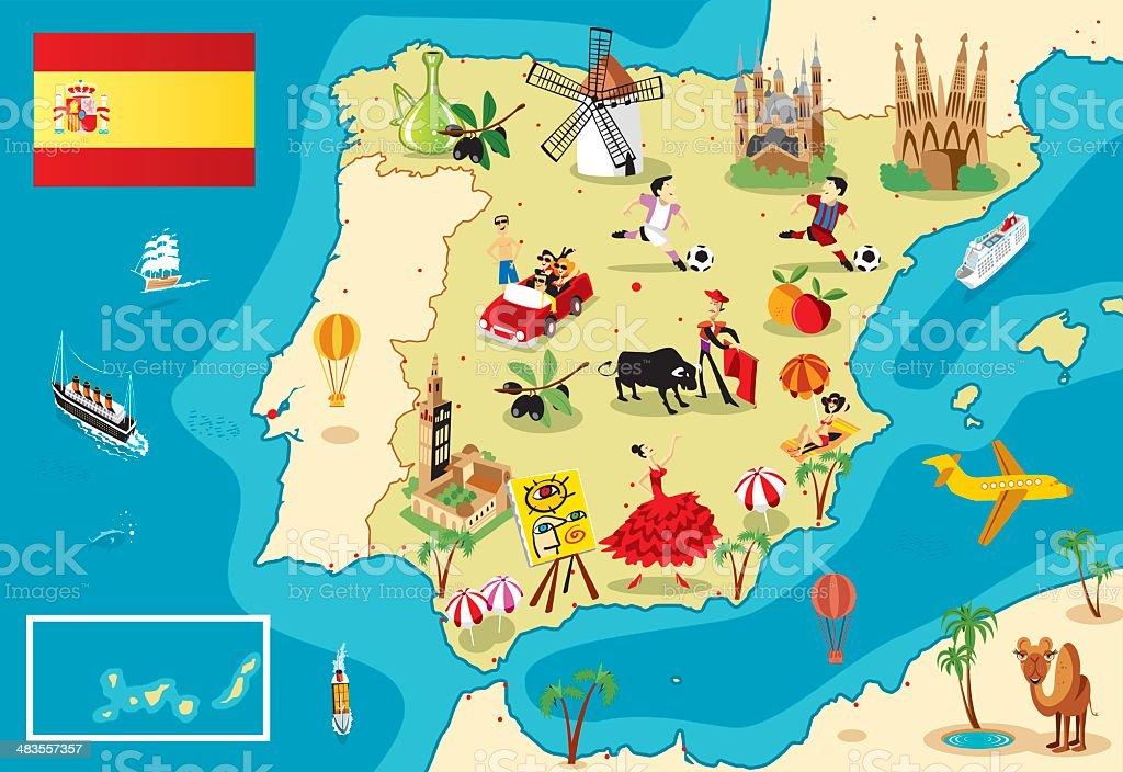 Cartoon map of SPAIN vector art illustration
