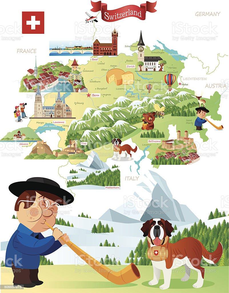 Cartoon Map of Switzerland vector art illustration