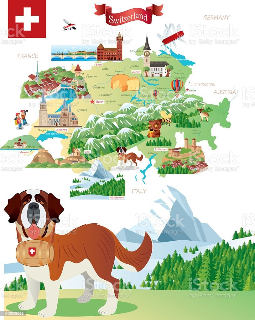 Cartoon map of Switzerland vector art illustration