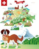 Cartoon map of Switzerland