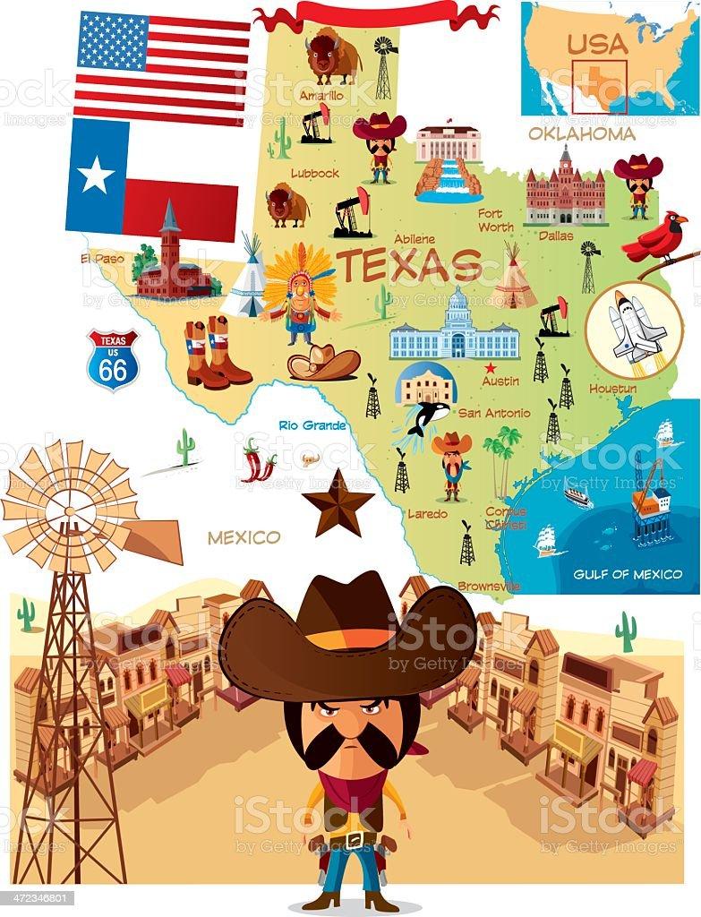 Cartoon map of Texas vector art illustration