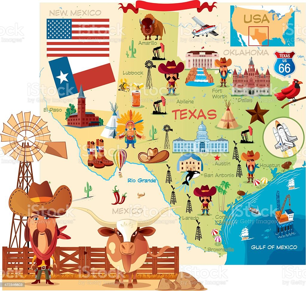 Cartoon map of Texas royalty-free stock vector art