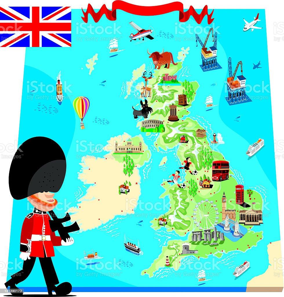 Cartoon map of UK royalty-free stock vector art