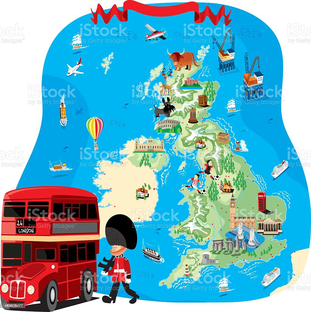 Cartoon map of UK vector art illustration