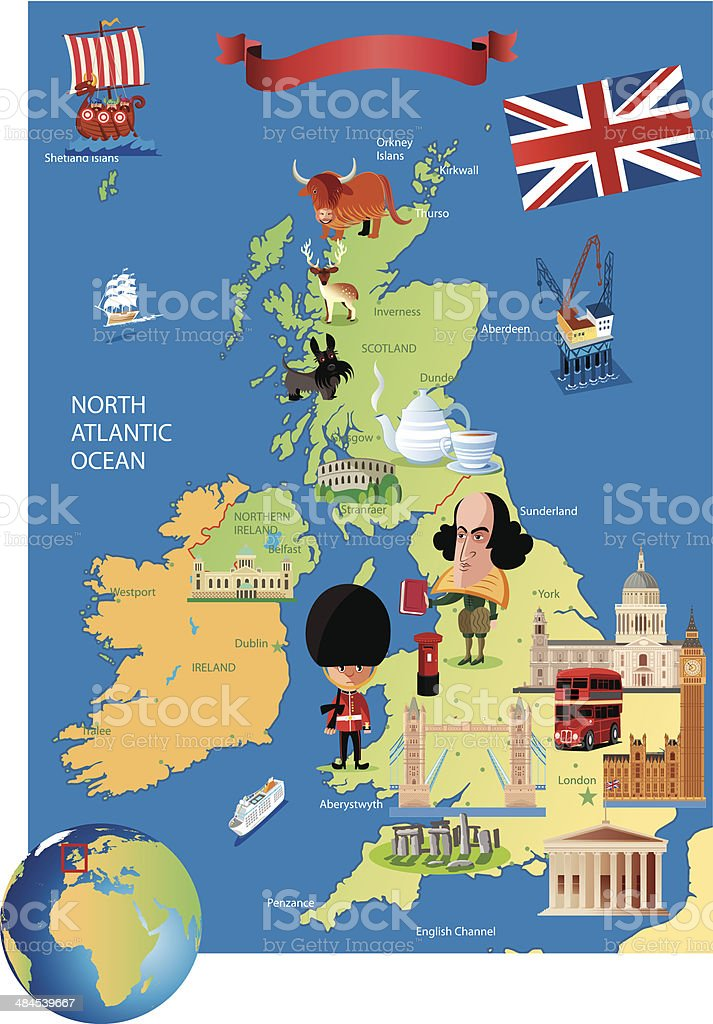 Cartoon map of UK vector art illustration