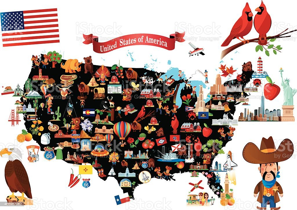 Cartoon Map Of Usa Stock Vector Art IStock - Us map collage
