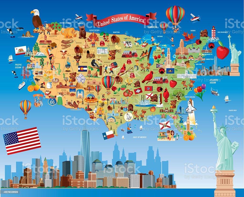 Cartoon Map Of Usa Stock Vector Art IStock - Cartoon map of the us