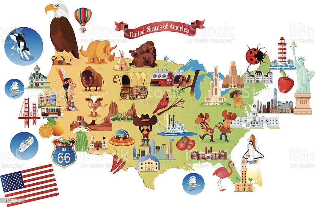 Cartoon Map Of Usa Stock Vector Art IStock - Map of us cartoon