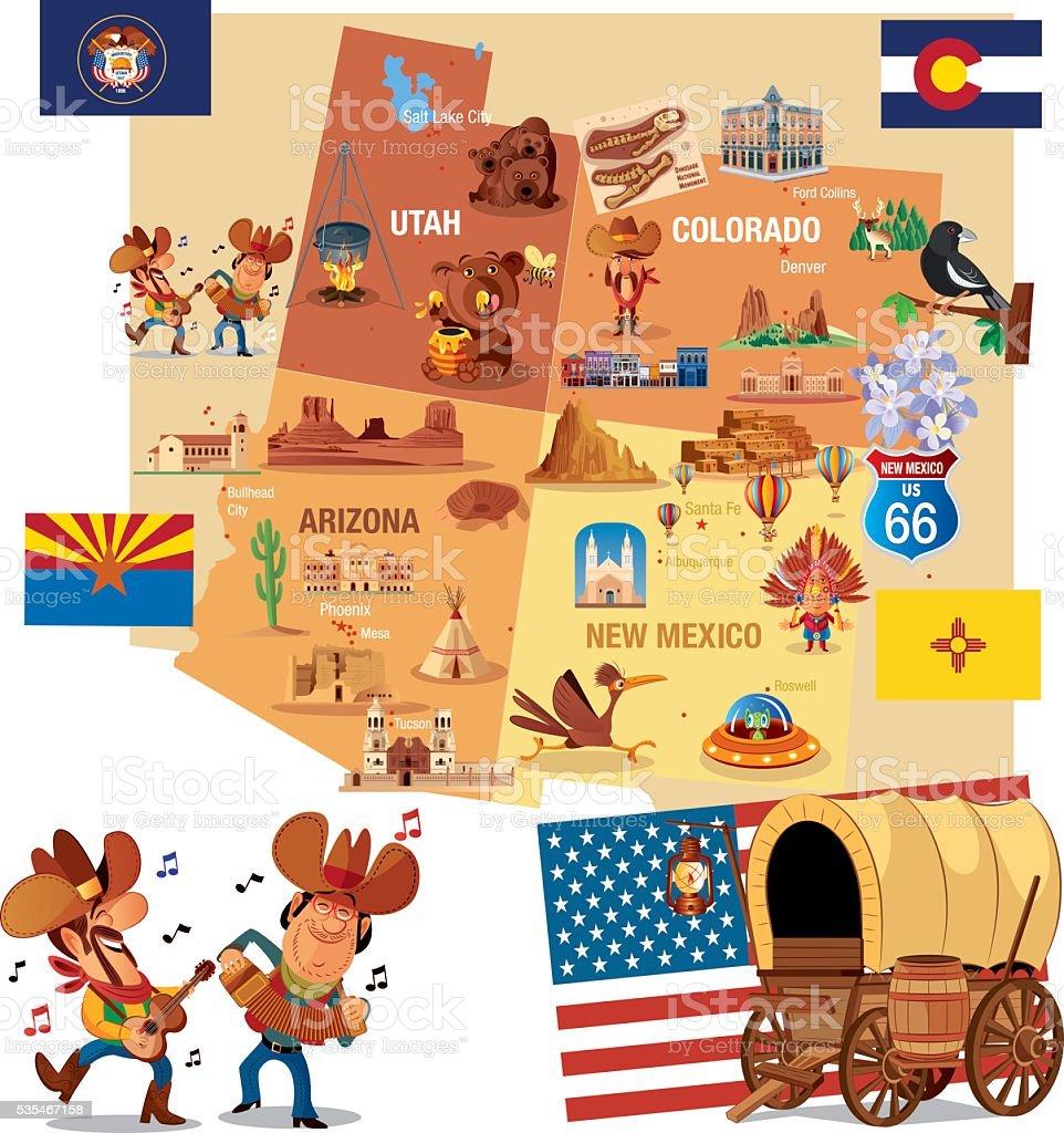 Cartoon map of USA vector art illustration