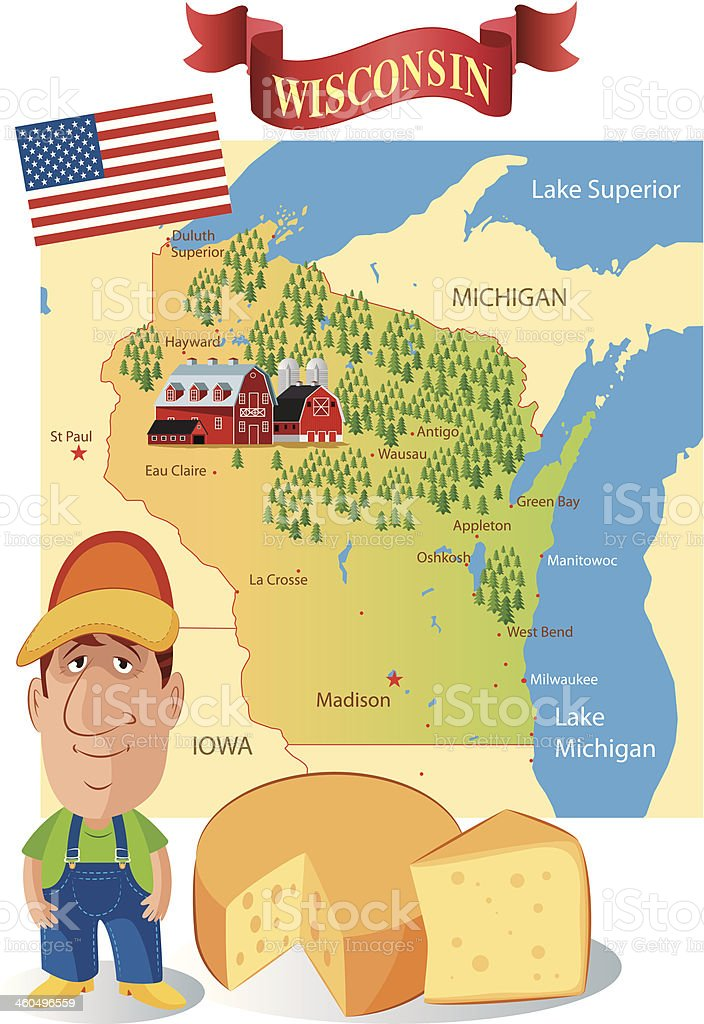 Cartoon Map of Wisconsin vector art illustration