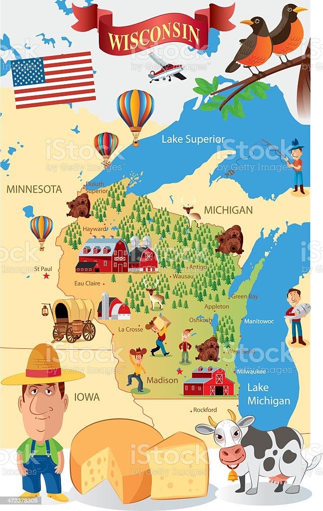Cartoon Map of Wisconsin vector art illustration