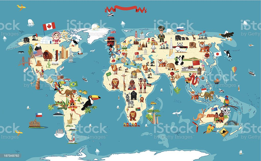 Cartoon Map Of World Stock Vector Art IStock - World map austria