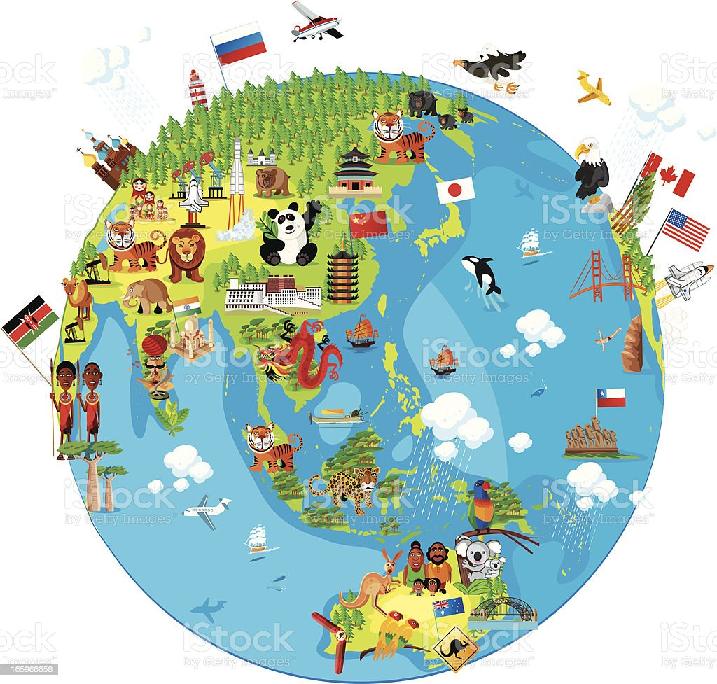 Cartoon map of World (Asia) royalty-free stock vector art