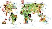 Cartoon map of World