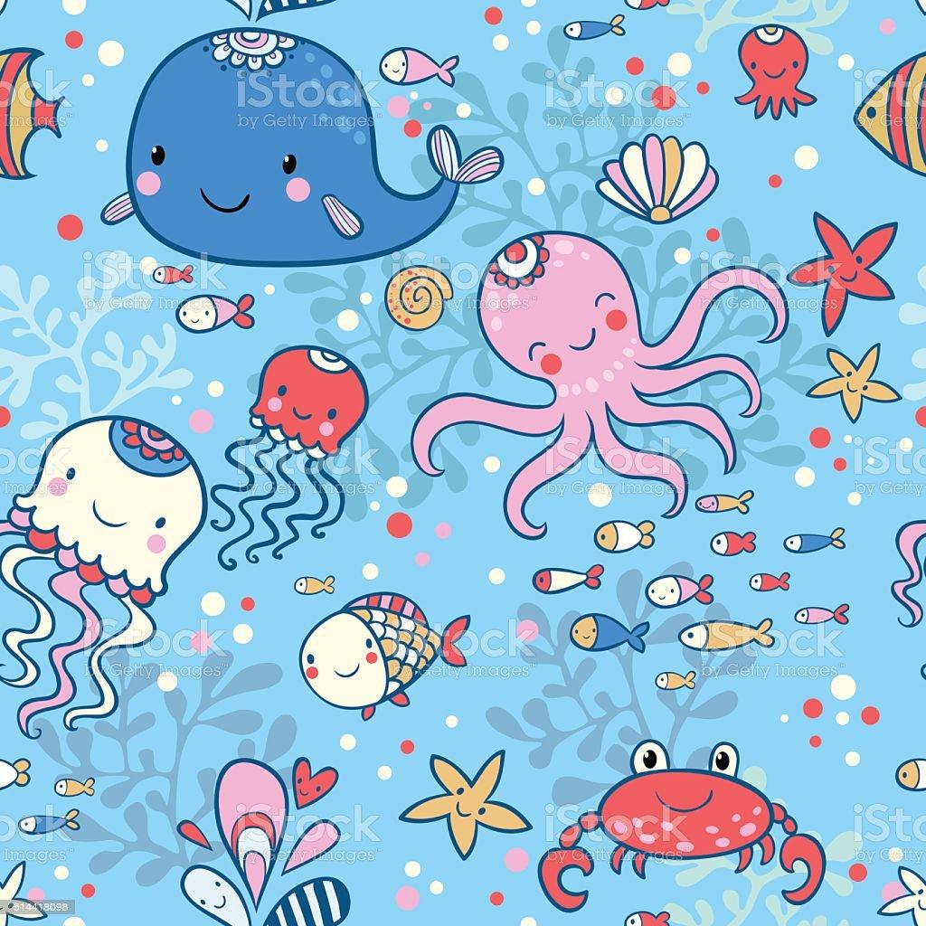 Cartoon marine seamless pattern for childish wallpapers. vector art illustration