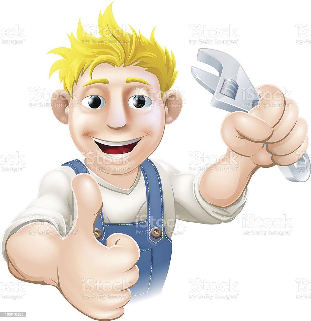 Cartoon mechanic or plumber royalty-free stock vector art