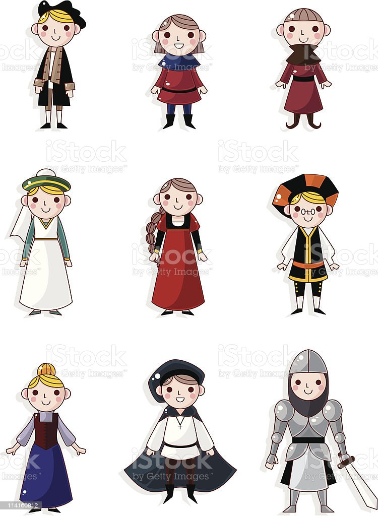 cartoon medieval people icon royalty-free stock vector art