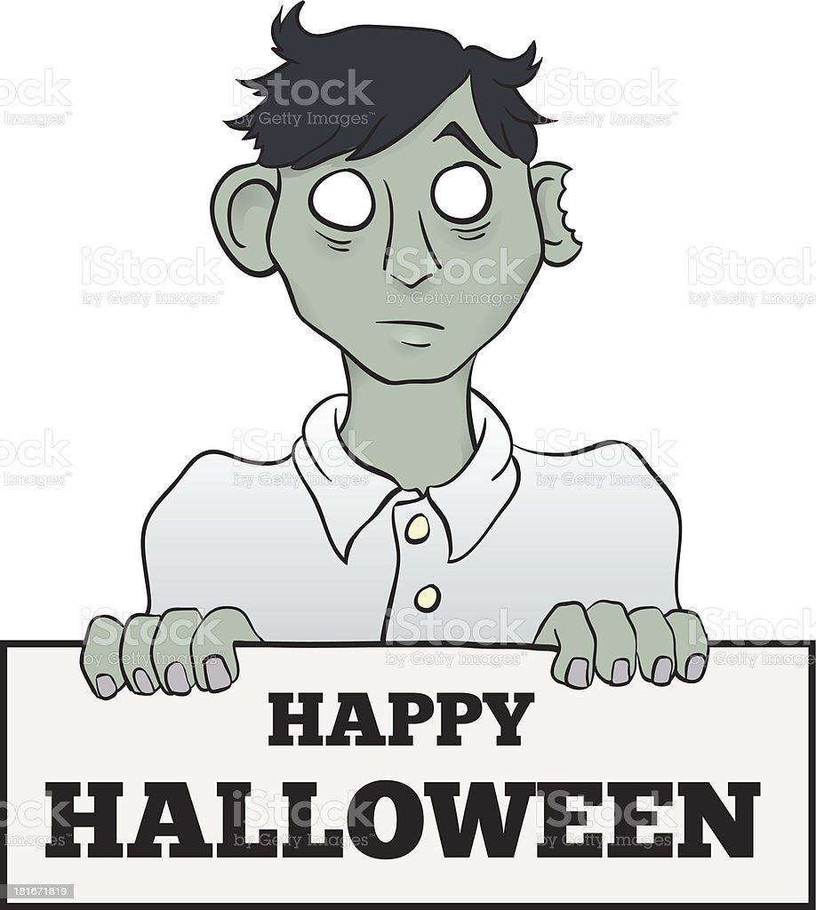 Cartoon Melancholy Zombie with Sign royalty-free stock vector art