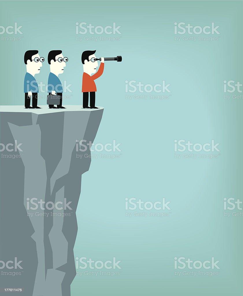 Cartoon men on cliff looking through telescope for direction vector art illustration