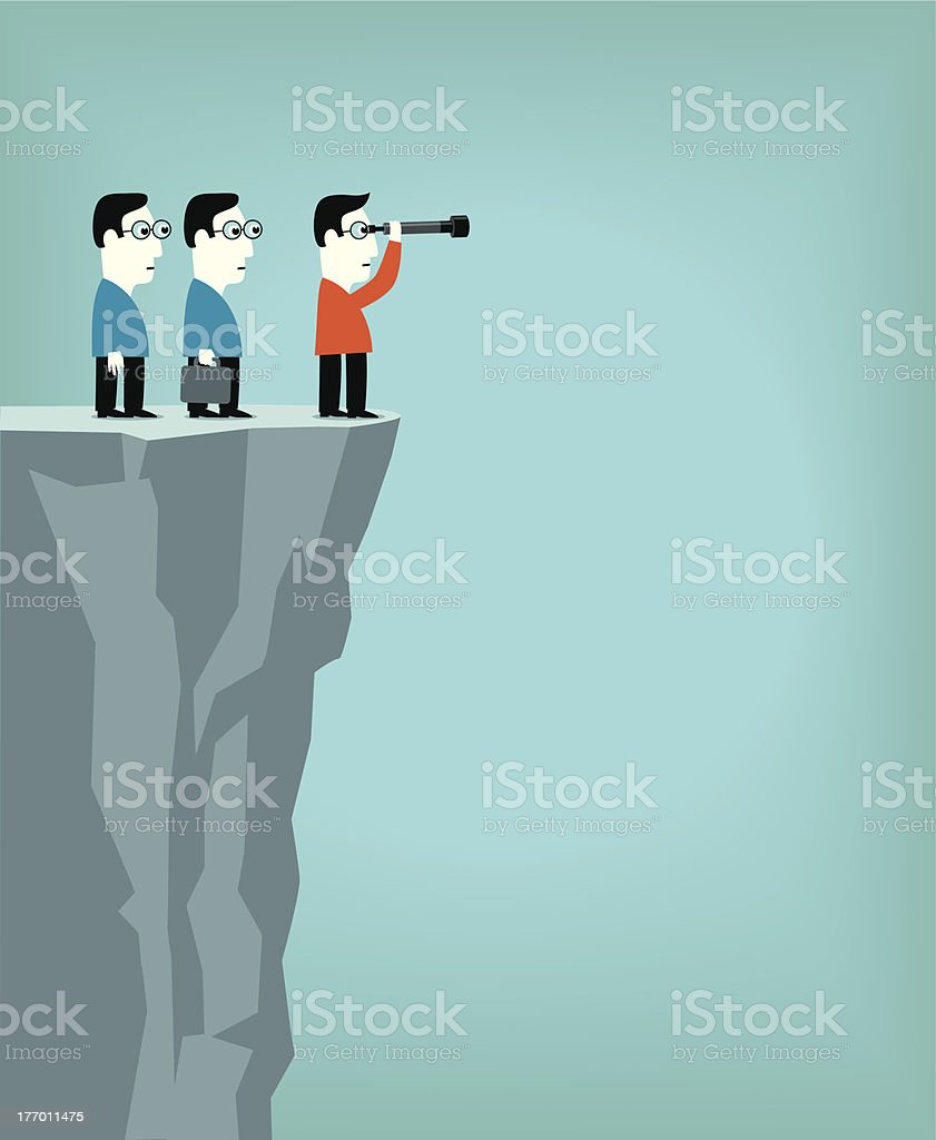 Cartoon men on cliff looking through telescope for direction vector art illustration