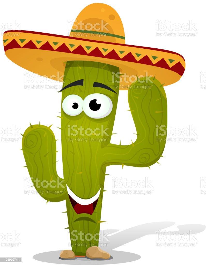 Cartoon Mexican Cactus Character royalty-free stock vector art