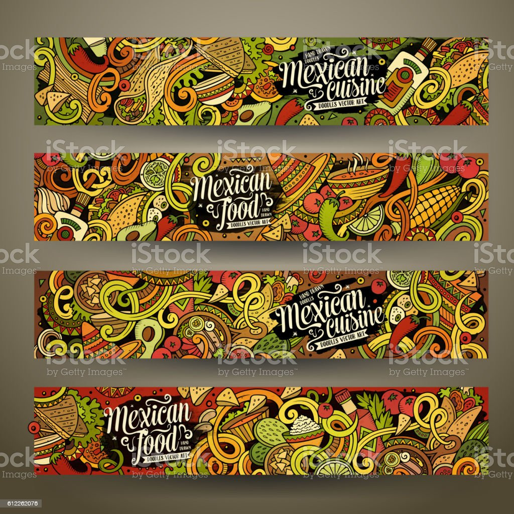 Cartoon mexican food doodles banners vector art illustration