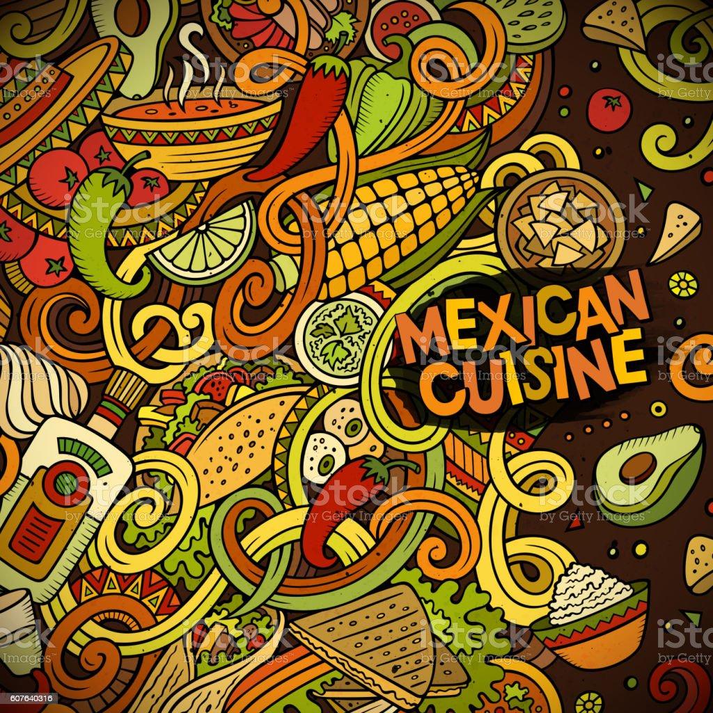Cartoon mexican food doodles frame design vector art illustration