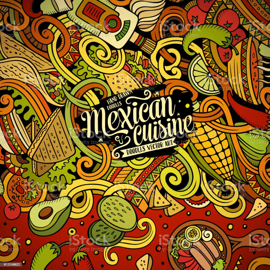 Cartoon mexican food doodles frame design vector art illustration