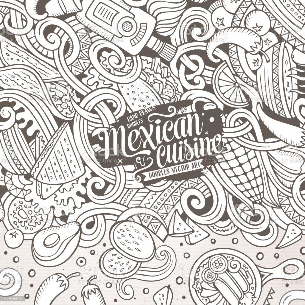 Cartoon mexican food doodles illustration vector art illustration