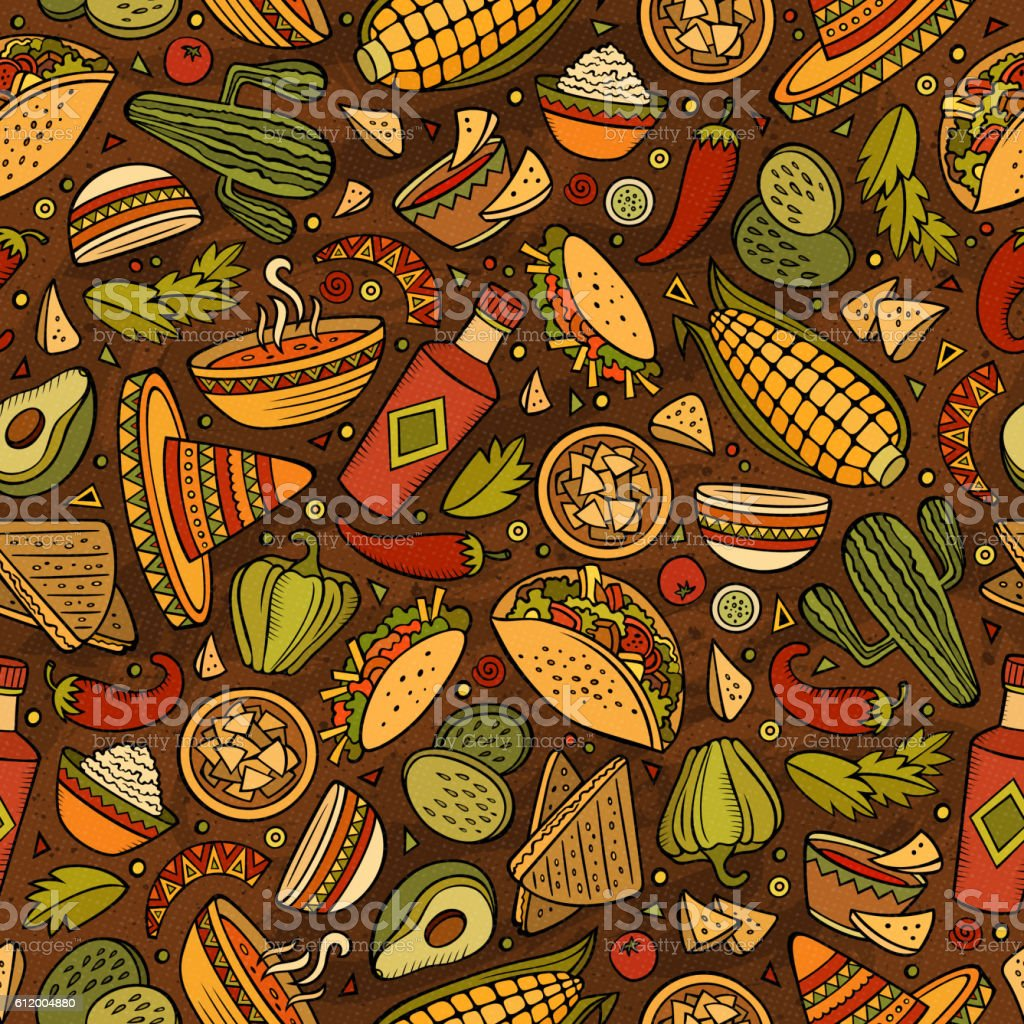 Cartoon Mexican food seamless pattern vector art illustration