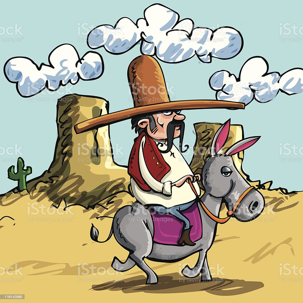 Cartoon Mexican with sombrero riding a donkey royalty-free stock vector art