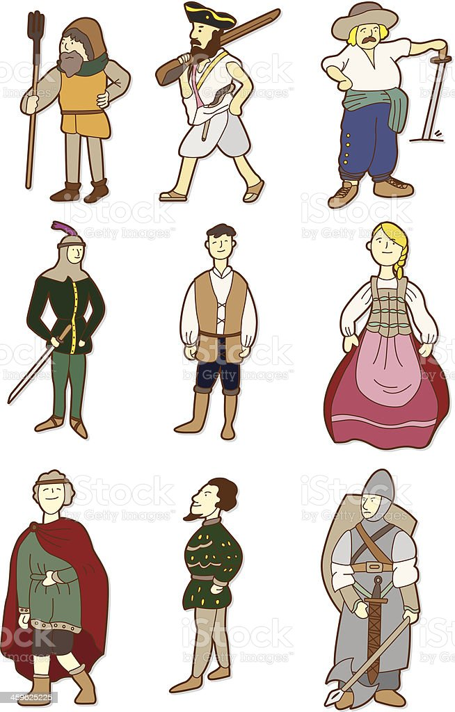 cartoon Middle Ages people vector art illustration