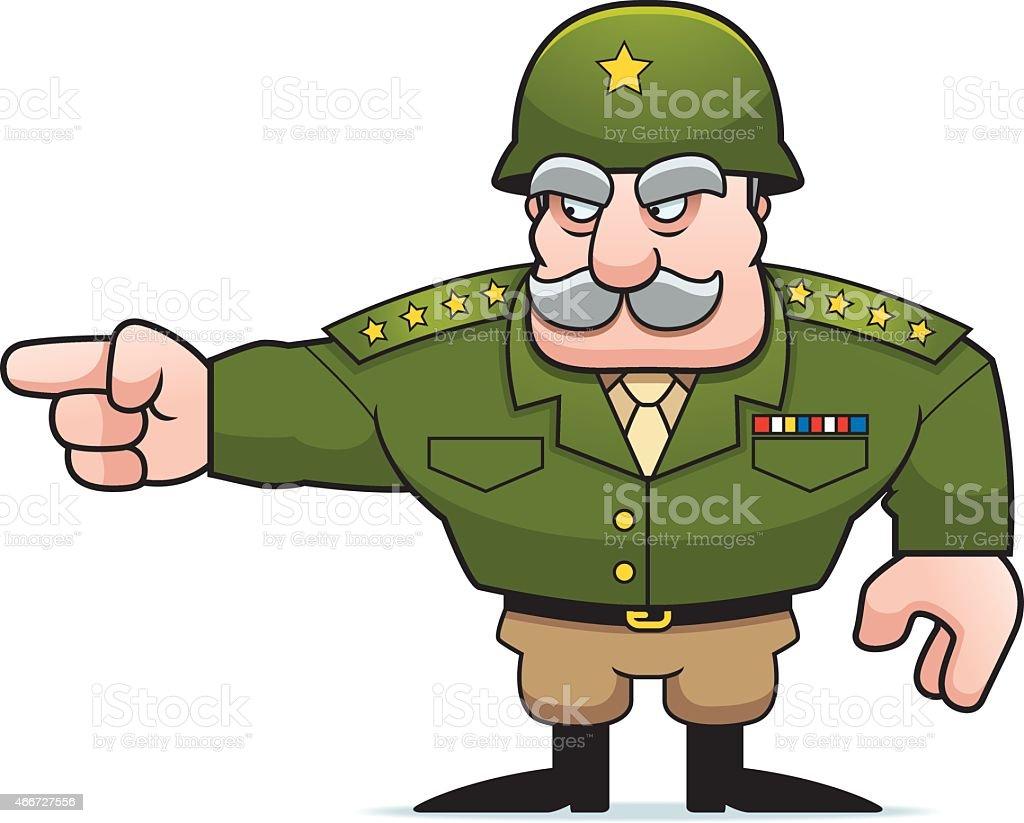 Cartoon Military General Pointing vector art illustration