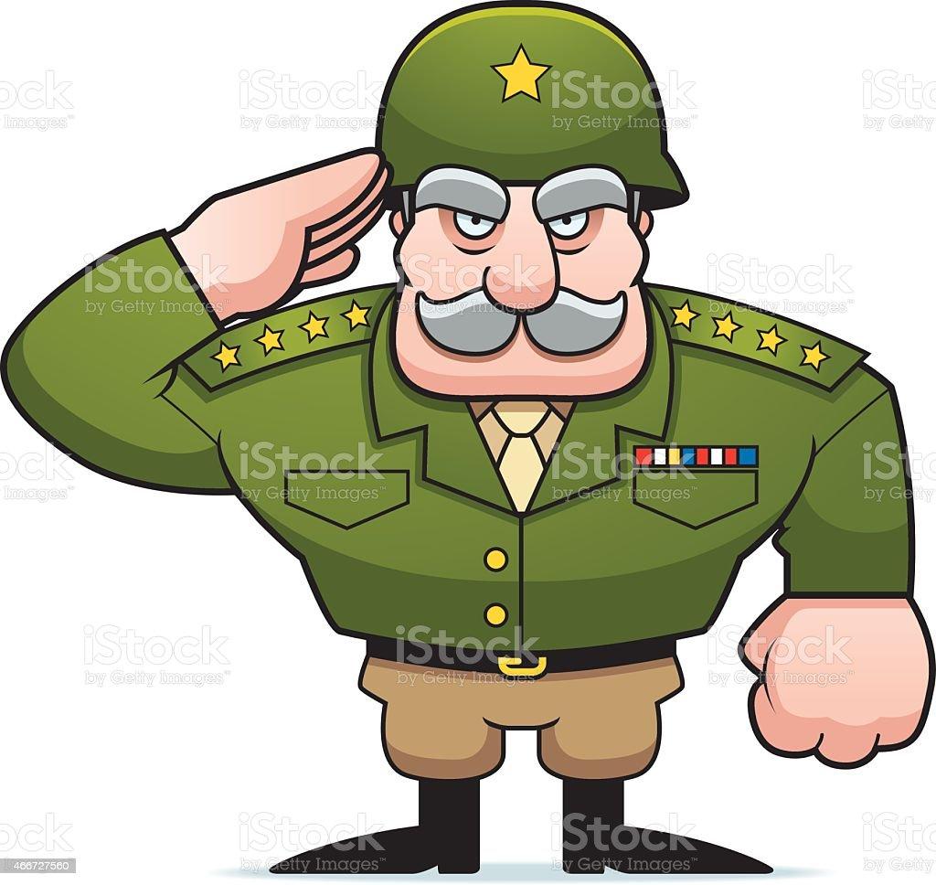 Cartoon Military General Salute vector art illustration