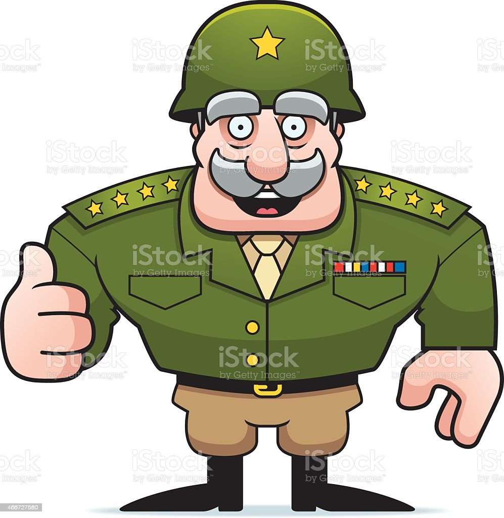 Cartoon Military General with thumbs up sign vector art illustration