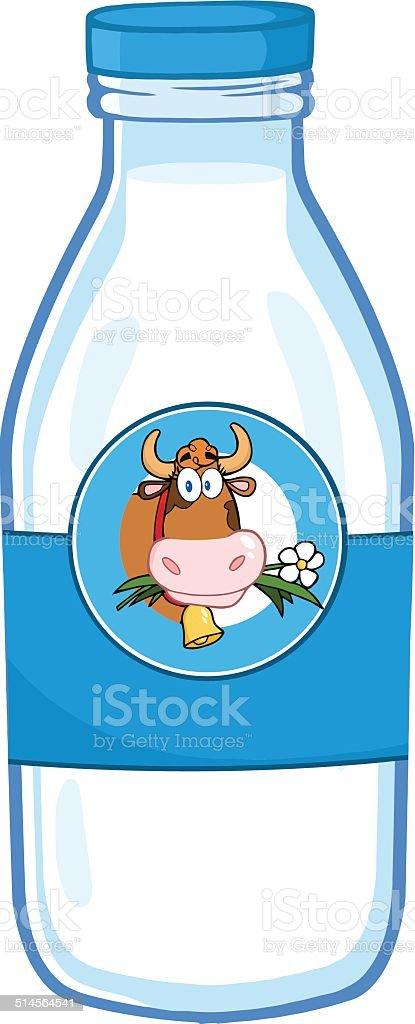Cartoon Milk Bottle With Label vector art illustration
