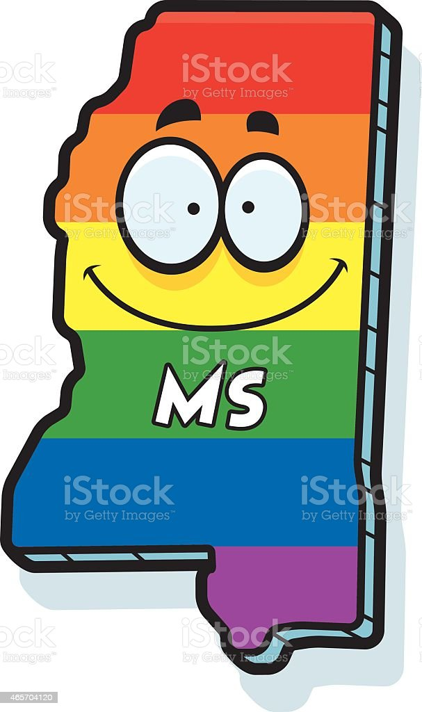 Cartoon Mississippi Gay Marriage vector art illustration