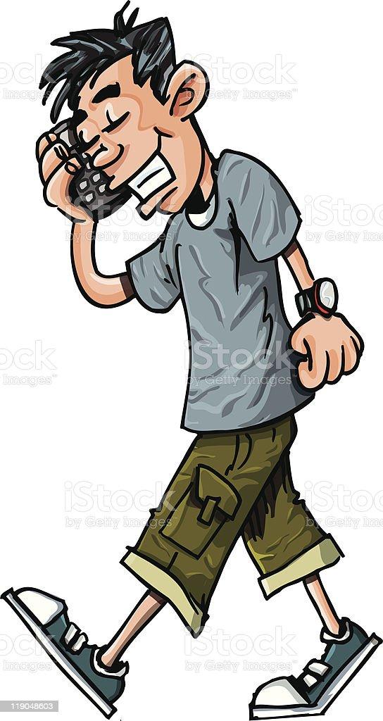 Cartoon mobile phone youth vector art illustration