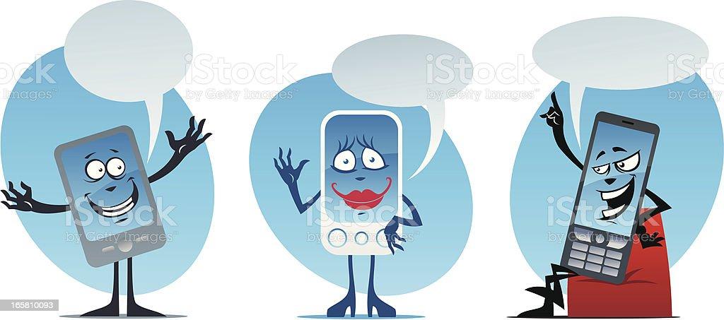 Cartoon mobile phones royalty-free stock vector art