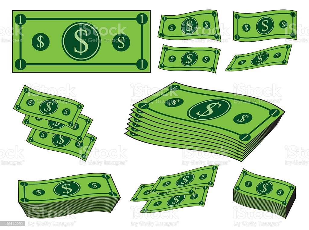 Cartoon money, dollar banknote, paper bill. vector art illustration