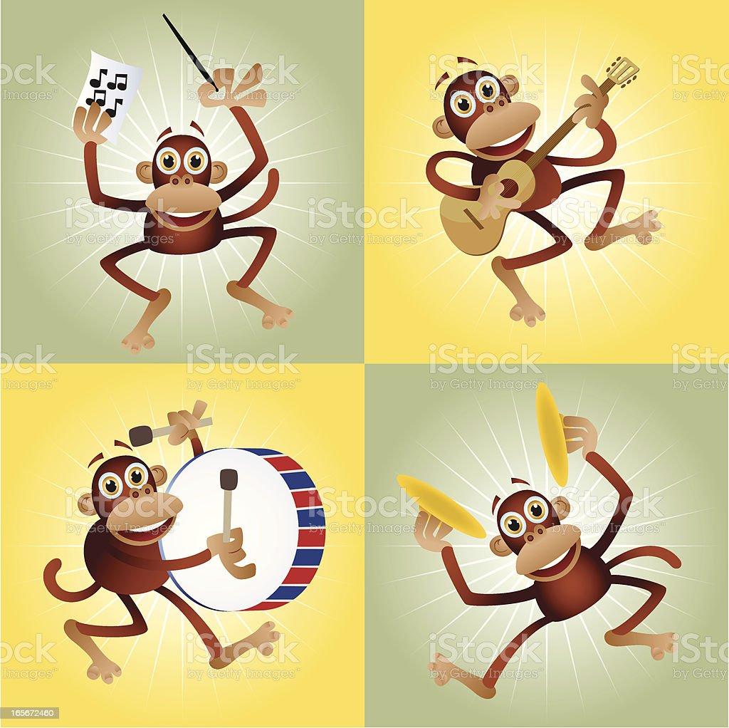 Cartoon Monkey Band vector art illustration