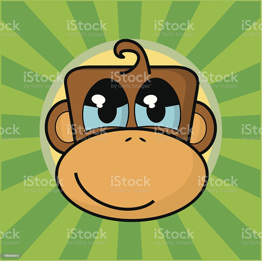 Cartoon Monkey Face vector art illustration