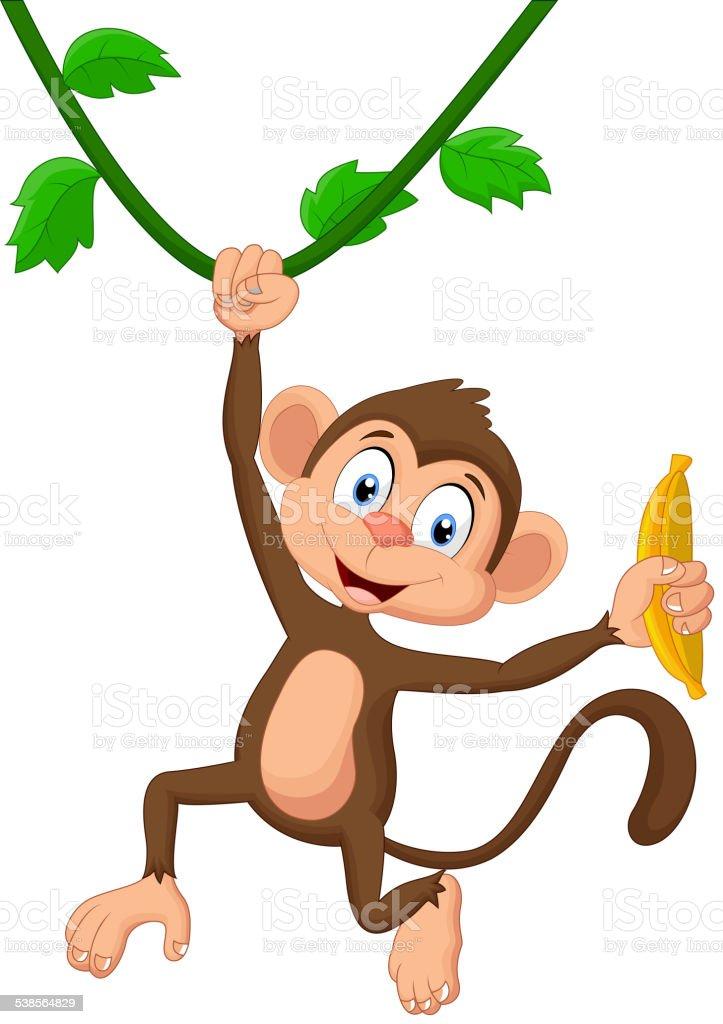 Cartoon monkey hanging vector art illustration