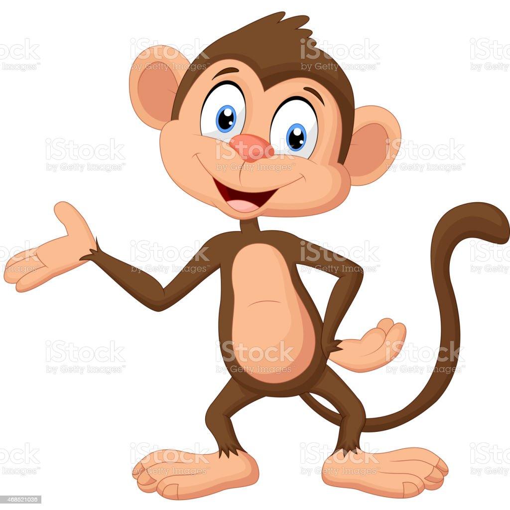 Cartoon monkey presenting vector art illustration