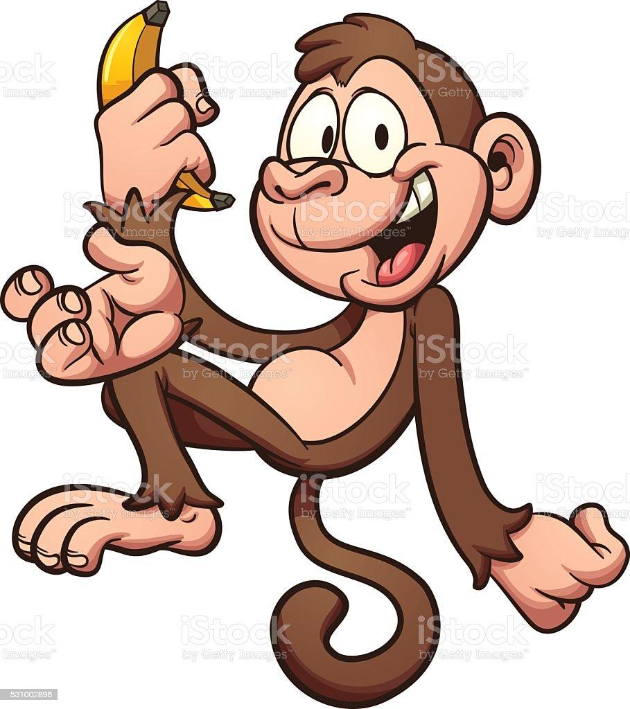 Cartoon monkey vector art illustration
