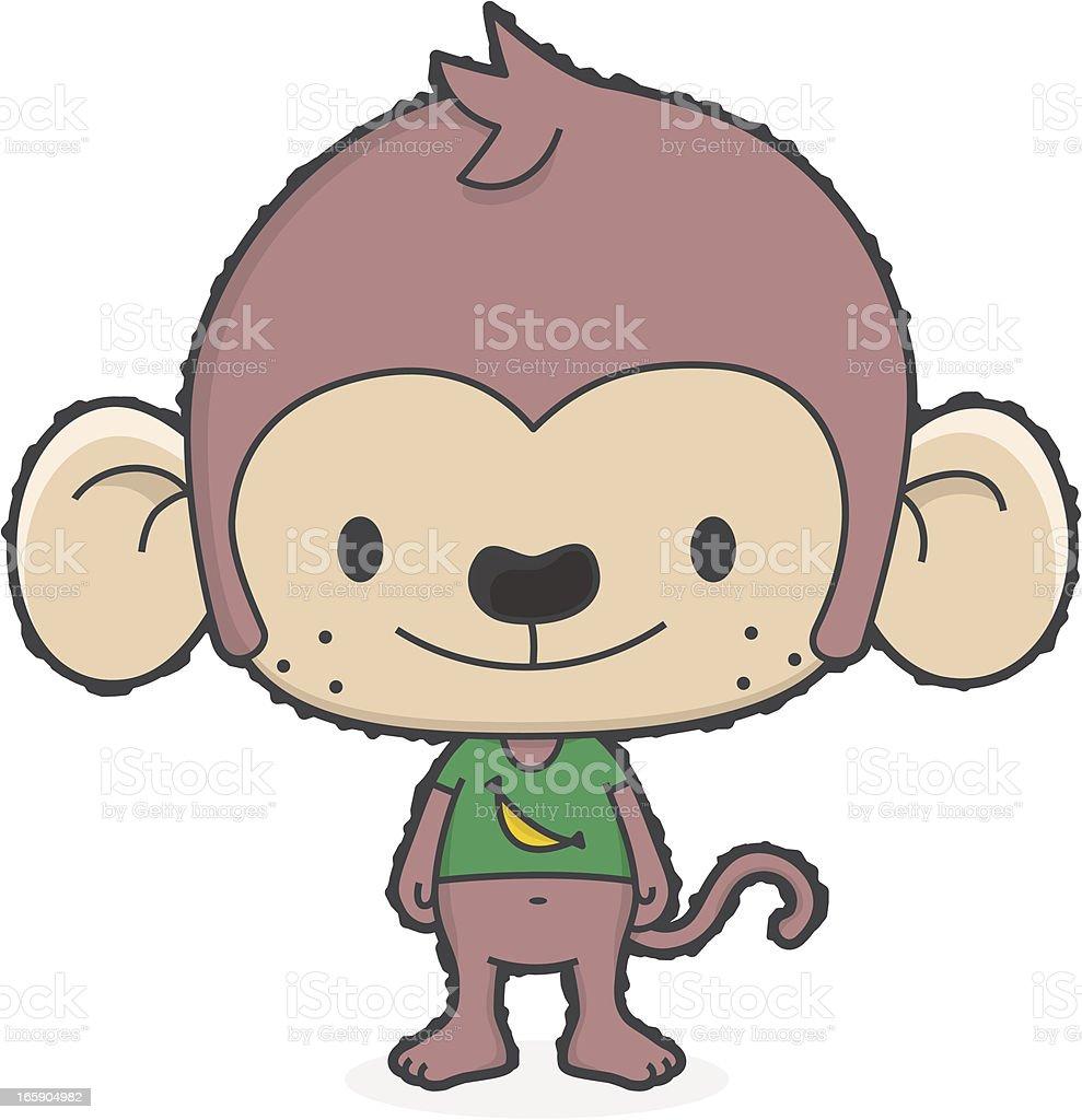 cartoon monkey with banana tshirt vector art illustration